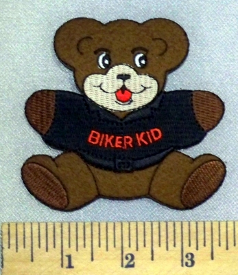 5247 S - Teddy Bear - Black T- Shirt - Biker Kid - Embroidery Patch