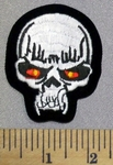 5254 S - White Skull Face With Red -Yellowish Eyes - Embroidery Patch