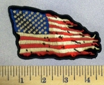 5263 CP - Antique Torn And Tattered American Flag - Embroidery Patch