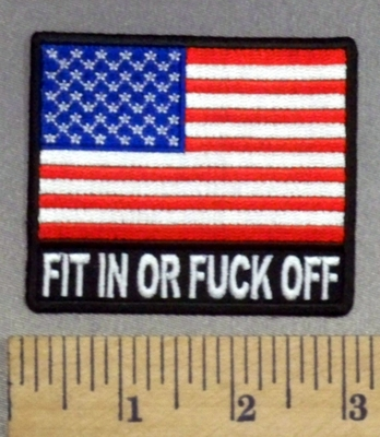 5273 CP - Fit In Or Fuck Off - American Flag - Embroidery Patch