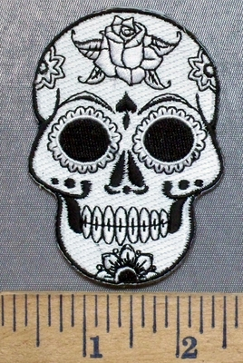 5286 CP - White Sugar Skull - Big Black Eyes - Rose In Forehead - Embroidery Patch