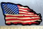 5308 CP - Tattered Antique American Flag - Back Patch - Embroidery patch