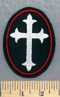 5310 L - Celtic Cross - Maroon Border - Oval - Embroidery Patch