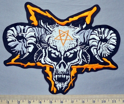 5327 L - Satanic Skull With Horns - Large Pentagram Symbol - Back Patch - Embroidery Patch