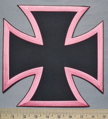 5330 W - Pink And Black Chopper Logo - Iron Cross - Back Patch - Embroidery Patch