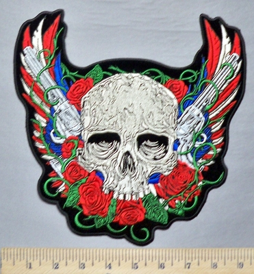 5332 G - Patriotic Skull With Red - White - Blue Angel Wings - 2 Pistols - Back Patch - Embroidery Patch