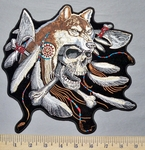 5333 G - Indian Style Skull With Wolf Head Dress - Feathers - Two Tomahawk - Back Patch - Embroidery Patch
