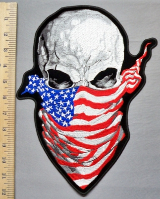 5337 G - Skull With American Flag  Bandana - Back Patch - Embroidery Patch