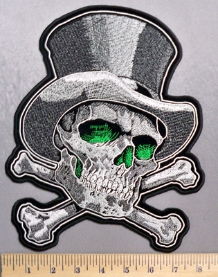 5338 G - Green Eyed Skull With Tophat And Crossbones - Back Patch - Embroidery Patch