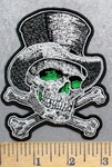 5567 G - Green Eyed Skull With Cross Bones And Tophat - Embroidery Patch