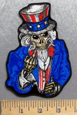 5568 - G - Uncle Sam Skullman With Middle Finger - Embroidery Patch
