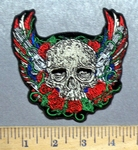 5573 G - Patriotic Skull With Red - White And Blue Angel Wings - 2 Pistols - Embriodery Patch