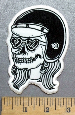 5579 C - Lady Skull - Heart Shaped Goggles - Helmet And Pigtails - Embroidery Patch