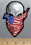 5581 G - Skull With American Flag Bandana - Embroidery Patch
