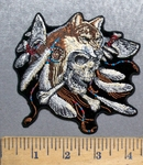 5582 G - Indian Style Skull With Wolf Head Dress - Feathers - Two Tomahawk - Embroidery Patch