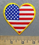 5585 CP - Heart Shaped American Flag - Yellow Border - Embroidery Patch