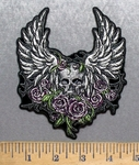 5586 G - Purple Flowers With Skulll - Angel Wings - Embroidery Patch