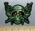 5587 N - Army Green Military Skull With Gas Mask - Militarty Weapons - Embroidery Patch