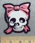 5593 G - Skull With Pink Ribbon - Embroidery Patch