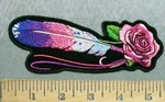 5604 CP - Pink Rose With Multi Colored Feather - Embroidery Patch