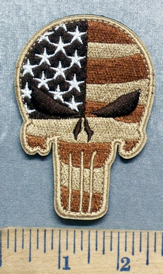 5607 C - Punisher - Desert Camo Flag - VELCRO - Embroidery Patch