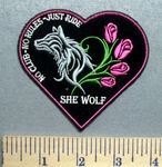 5609 CP - No Club - No Rules - Just Ride - Heart With Wolf And Pink Roses - SHE WOLF - Embroidery Patch