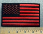 5624 S - Red And Black Flag - 5 Inch - Embroidery Patch