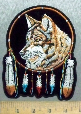 5635 CP - Dreamcatcher - Wolf - Feathers - Embroidery Patch
