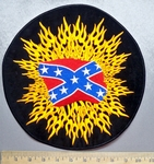 5637 R - Confederate Flag Within Flames - Round - Back Patch - Embroidery Patch