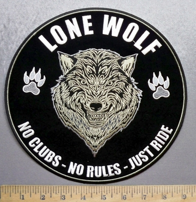5638 CP - LONE WOLF - No Clubs - No Rules - Just Ride - Wolf In Center - Round - Back Patch - Embroidery PAtch