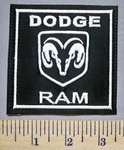 5644 L - Dodge Ram With Ram Logo - Square - White - Embroidery Patch