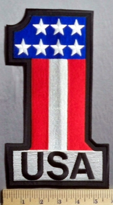 5648 R - USA - Number One - American Flag - Back Patch - Embroidery Patch