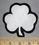 5651 L - White 3 Leaf Clover- Embroidery Patch