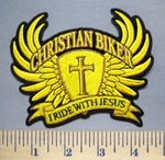 5655 CP - Christian Biker - I Ride With Jesus - Cross With Angel Wings - Gold - Embroidery Patch