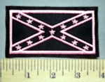 5656 L - Pink And Black Confederate Flag - Embroidery Patch
