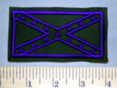 5658 L - Purple And Black Confederate Flag - Embroidery Patch
