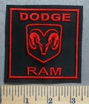 5672 L - Dodge Ram With Ram Logo - Square - Red - Embroidery Patch
