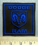 5673 L - Dodge Ram With Ram Logo - Square - Blue - Embroidery Patch
