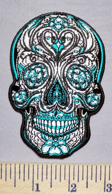 5677 G - Turquoise And Silver Sugar Skull - Embroidery Patch
