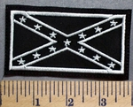 5680 L - Black And White Confederate Flag - Embroidery Patch