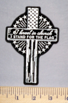 5683 G - I Kneel In Church - I Stand For The Flag - Cross With Stars - Embroidery Patch - Embroidery patch