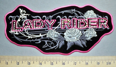 5688 G - Lady Rider - Rhinestone -Bling - Pink With Silver Roses - Embroidery Patch