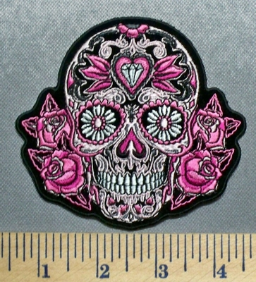 5691 G - Pink Sugar Skull With Roses And Diamond - Embroidery Patch