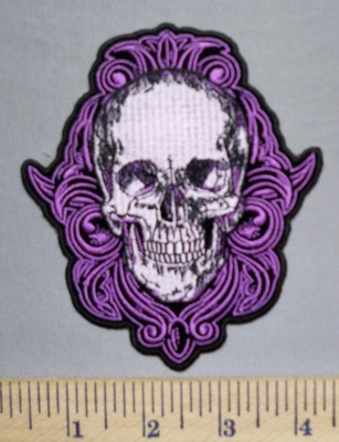 5701 G - Smiling Purple Celtic Skull -Embroidery Patch