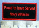 5706 S - Proud To Have Served - Navy Veteran - Red - Embroidery Patch