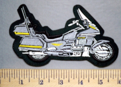 5708 L - Silver Gold Wing 1300 Motorcycle - Embroidery Patch