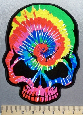 5712 G - Tie Dye Skull - Back Patch - Embroidery Patch