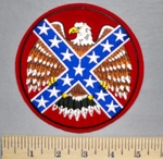 5725 R - American Eagle - Confederate Flag - Round - Embroidery Patch