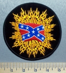 5733 R - Confederate Flag Within Flames - Round - Embroidery Patch