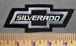 5742 L - Silverado - Chevy Bow Tie - Silver - Embroidery Patch